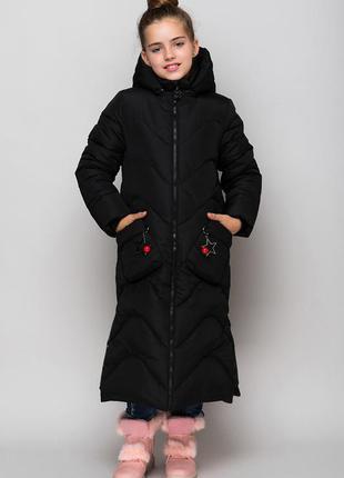Шикарная зимняя куртка -пальто для девочки-очень теплое
