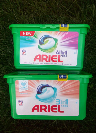 Ariel all in pods , color sensitive 35капсул