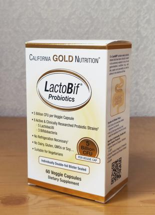 Пробиотики LactoBif 5 млрд КОЕ, California Gold, 60 капсул