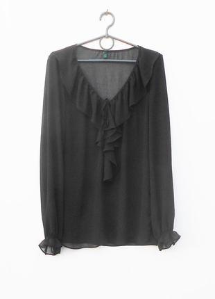 Черная свободная шифоновая блузка с длинным рукавом