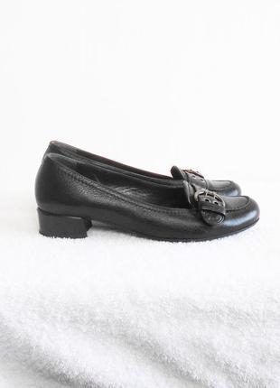 Черные кожаные классические туфли лодочки балетки низкий каблук