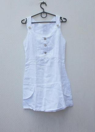 Летнее белое льняное платье