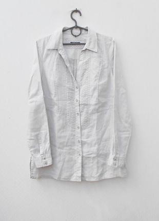 Льняная рубашка с воротником с длинным рукавом