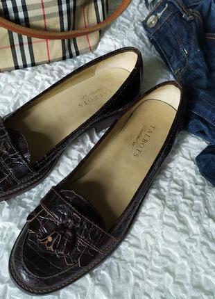 Кожаные лоферы туфли под рептилию talbots