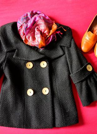 Черное демисезонное полупальто, пальто max mara, букле