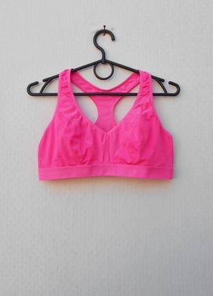 Розовый спортивный топ без косточек женская  спортивная одежда