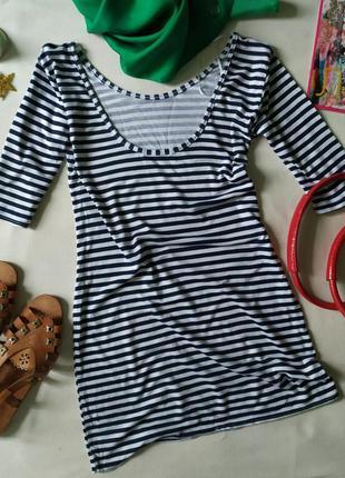 Тонкое мини платье туника в синюю полоску, тельняшка с открыто...