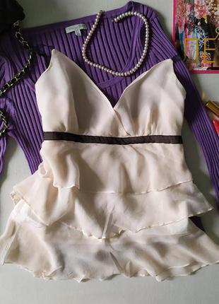 Невесомый шелковый персиковый топ с рюшами воланами в ретро стиле