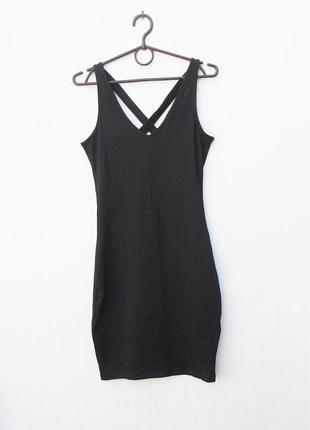 Черное летнее облегающее трикотажное платье майка из хлопка
