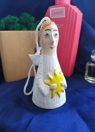Глиняный колокольчик статуэтка ангел ангелочек, декор сувенир,...
