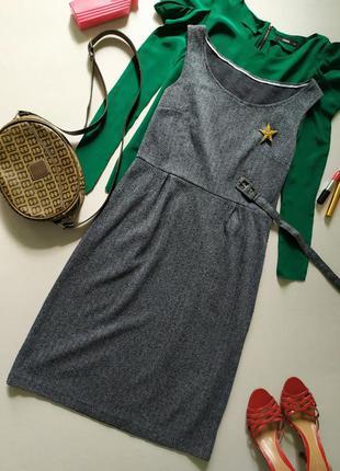 Базовое трикотажное миди платье футляр в елочку mexx классическое
