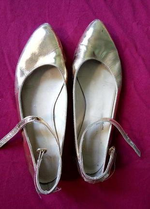 Кожаные золотые балетки, office, мягчайшая кожа