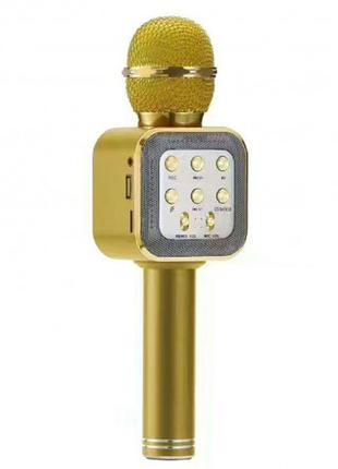 Беспроводной микрофон караоке блютуз WS1818 Bluetooth Золотой