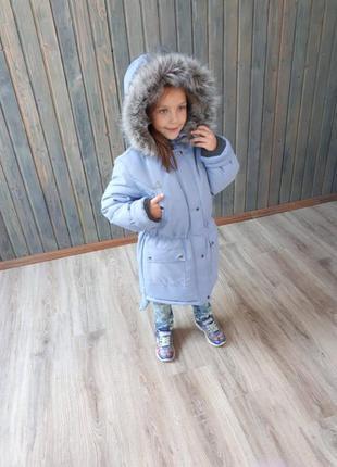 Зимняя парка пальто курточка для девочки