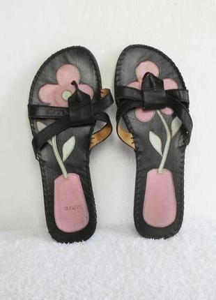 Черные кожаные женские шлепанцы сандалии вьетнамки 🌿