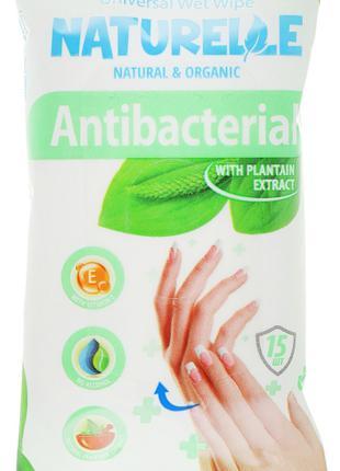 """Салфетки влажные """"Подорожник"""" Naturelle Antibacterial 15шт"""