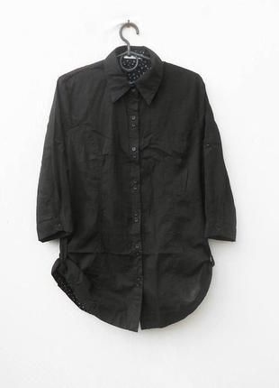 Черная легкая свободная хлопковая удлиненная рубашка с рукавом...