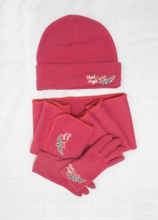 Осенний флисовый комплект шапка шарф и перчатки board angels