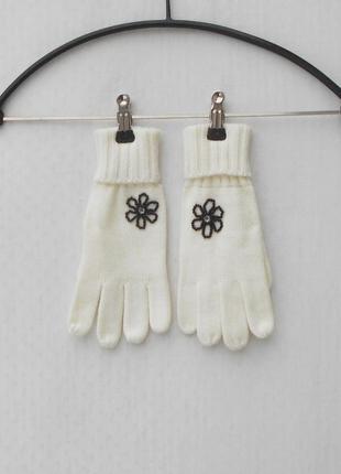 Осенние зимние белые вязаные перчатки
