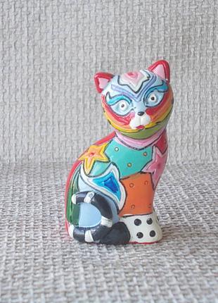 №523 Мини фигурка статуэтка кошка цветная керамика эмаль Испания