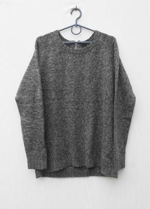 Зимний осенний вязаный свитер реглан на молнии с длинным рукав...
