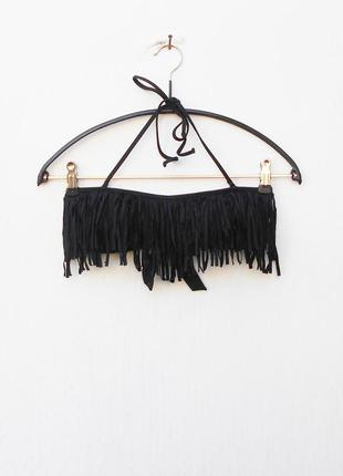 Черный верх от купальника бандо с рюшей  на завязках