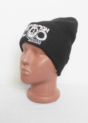 Черная зимняя теплая спортивная шапка