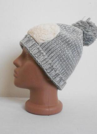 Осенняя зимняя вязаная спортивная шапка с помпоном 11-13 лет