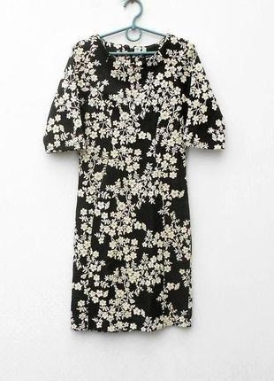 Фактурное трикотажное облегающее платье с коротким рукавом с о...