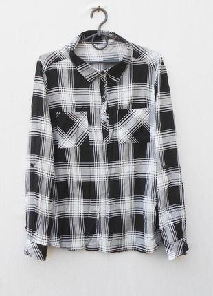 Рубашка в клетку из вискозы с длинным рукавом с воротником