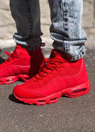 Nike air max sneakerboot 95 red шикарные мужские зимние кроссо...