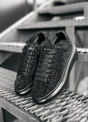 Шикарные женские кроссовки alexander mcqueen black черные