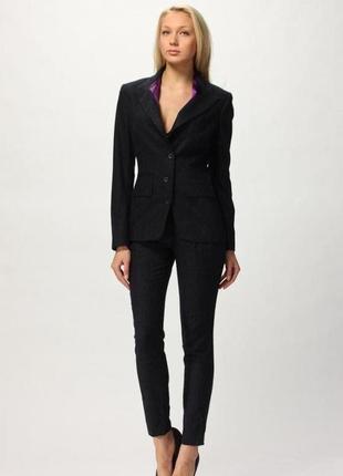 Черный классический стрейчевый приталенный пиджак жакет kalicyu