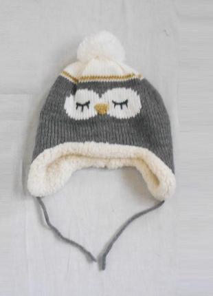 Детская теплая зимняя вязаная утепленная шапка с рисунком