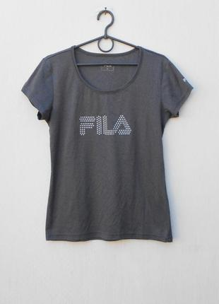 Серая спортивная футболка женская спортивная одежда fila