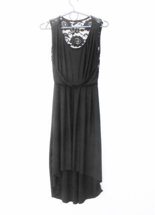 Черное нарядное летнее платье с кружевом