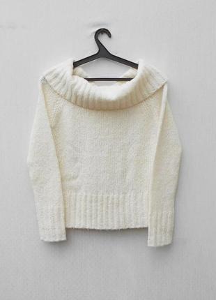 Белый  осенний зимний 15% шерстяной свитер крупной вязки с дли...