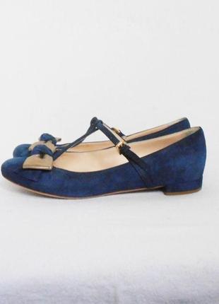 Нарядные замшевые кожаные туфли балетки лодочки