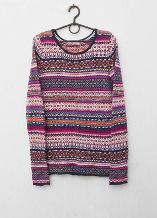 Осенний зимний вязаный свитер с орнаментом с длинным рукавом