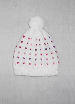 Вязаная теплая зимняя утепленная шапка с бубоном с помпоном на...