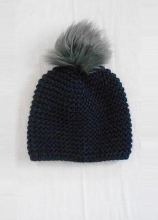 Зимняя 30% шерстяная 10% из  шерсти алпака  шапка крупной вязк...