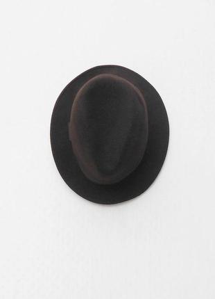 Шерстяная фетровая классическая шляпа федора коричневая