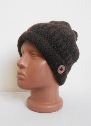 Осенняя зимняя вязаная шерстяная шапка с бубоном с помпоном