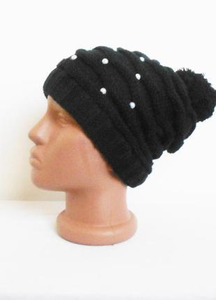 Зимняя вязаная шапка с бубоном с помпоном