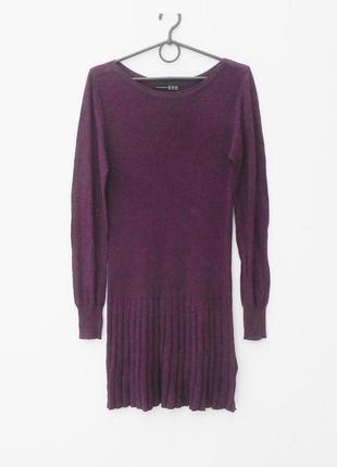 Осеннее зимнее вязаное платье с длинным рукавом котон вискоза