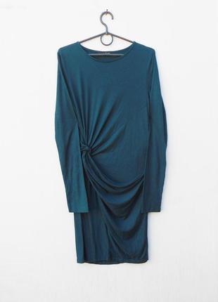 Трикотажное платье с длинным рукавом из вискозы zara