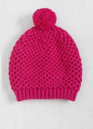 Розовая вязаная шапка с бубоном с помпоном