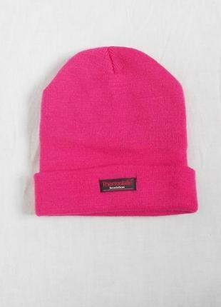 Розовая теплая спортивная вязаная шапка