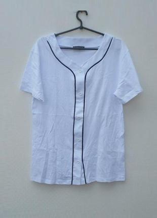 Трикотажная хлопковая  блузка с коротким рукавом на пуговицах ...