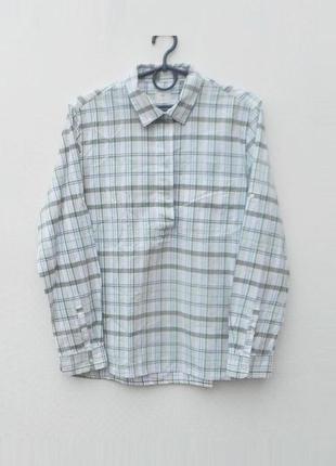 Хлопковая рубашка в клетку с воротником с длиным рукавом